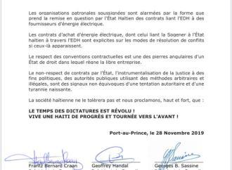 Dossier SOGENER : Dans une Note de presse tripartite, le système réagit face à l'État haïtien