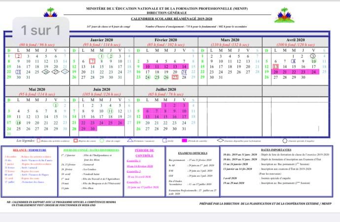 Le calendrier scolaire réaménagé prévoit 147 jours de classe