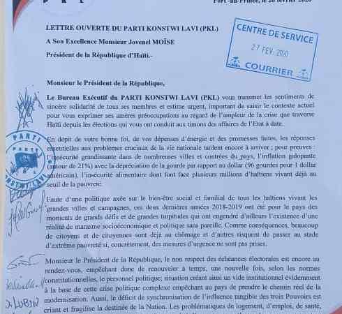 Le «Parti Konstwi Lavi», préocuppé par l'ampleur de la crise, écrit a JovenelMoïse