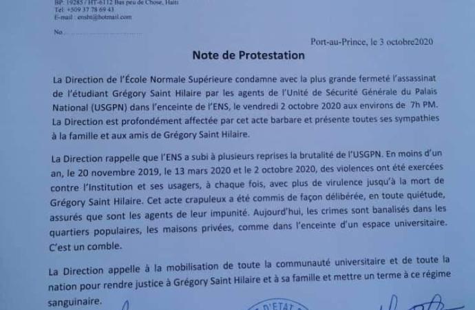 La direction de l'ENS condamne l'assassinat de l'étudiant Grégory Saint Hilaire