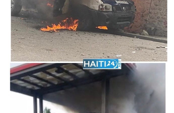 Manifestation antigouvernementale : un véhicule de police et une station de service incendiés