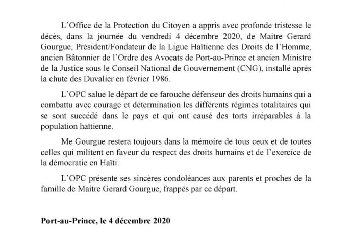Le Protecteur du Citoyen salue le départ Me Gérard Gourgue, « grand défenseur des droits humains »