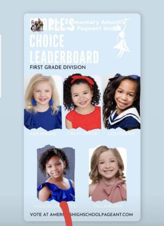 Fahenlly Claire Argant dans le top 5 du concours «Miss Elementary America Pageant»