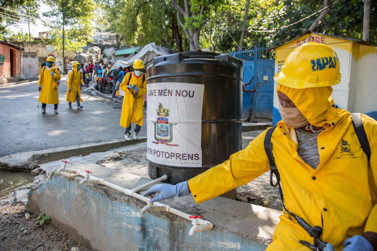 Disinfecting the streets of Port-au-Prince