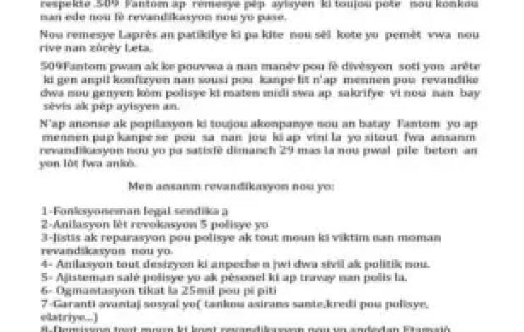 Haïti -Crise-PNH : Malgré des mesures annoncées, Fantom 509 menace de fouler le macadam à nouveau 1