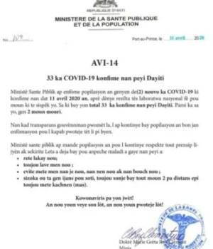 Haïti passe à 33 cas confirmés en rapport avec le COVID-19