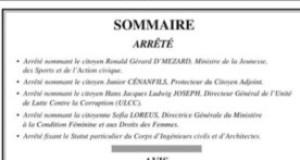 Gouvernance : de nouvelles personnalités nommées dans l'Administration Moïse/Jouthe