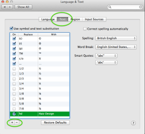 Symbol & text substitution on OS X