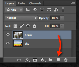 photoshop drag to new layer icon