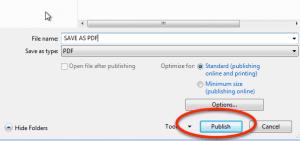 Save Microsoft Word file as an Adobe PDF