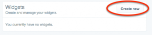 create new twitter widget