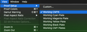 working cmyk colour space in photoshop
