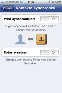 Sync Einstellungen in der Facebook iPhone App