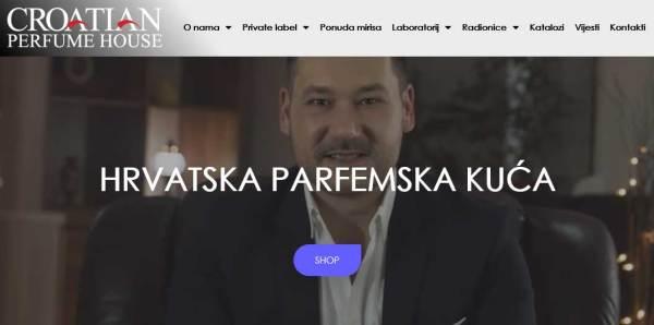 Naslovnica web stranice Hrvatske parfemske kuće
