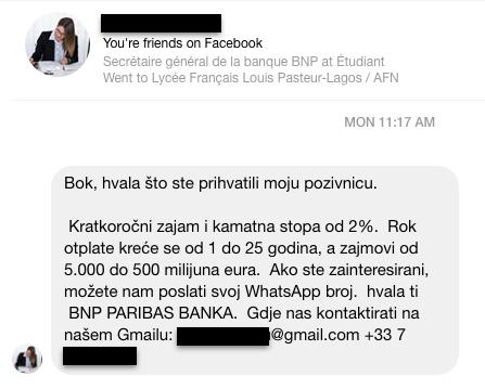 scam arnaque banque facebook vucic sns serbie bot