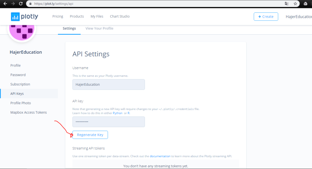Plotly API Settings