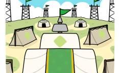 孔明のテントがある野外のシーン