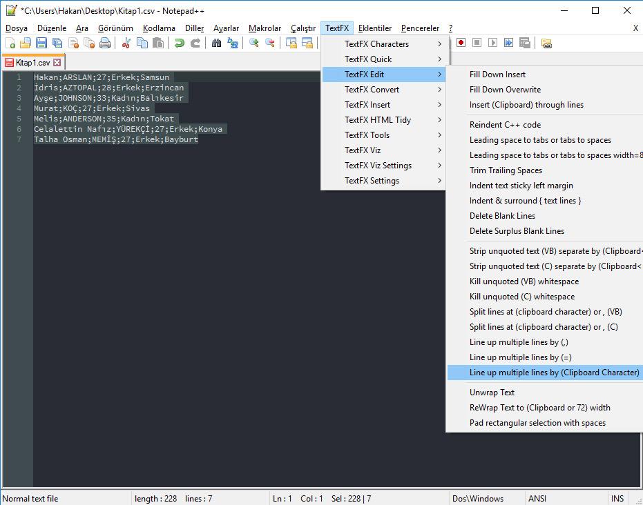 Notepad++ TextFX Eklentisi