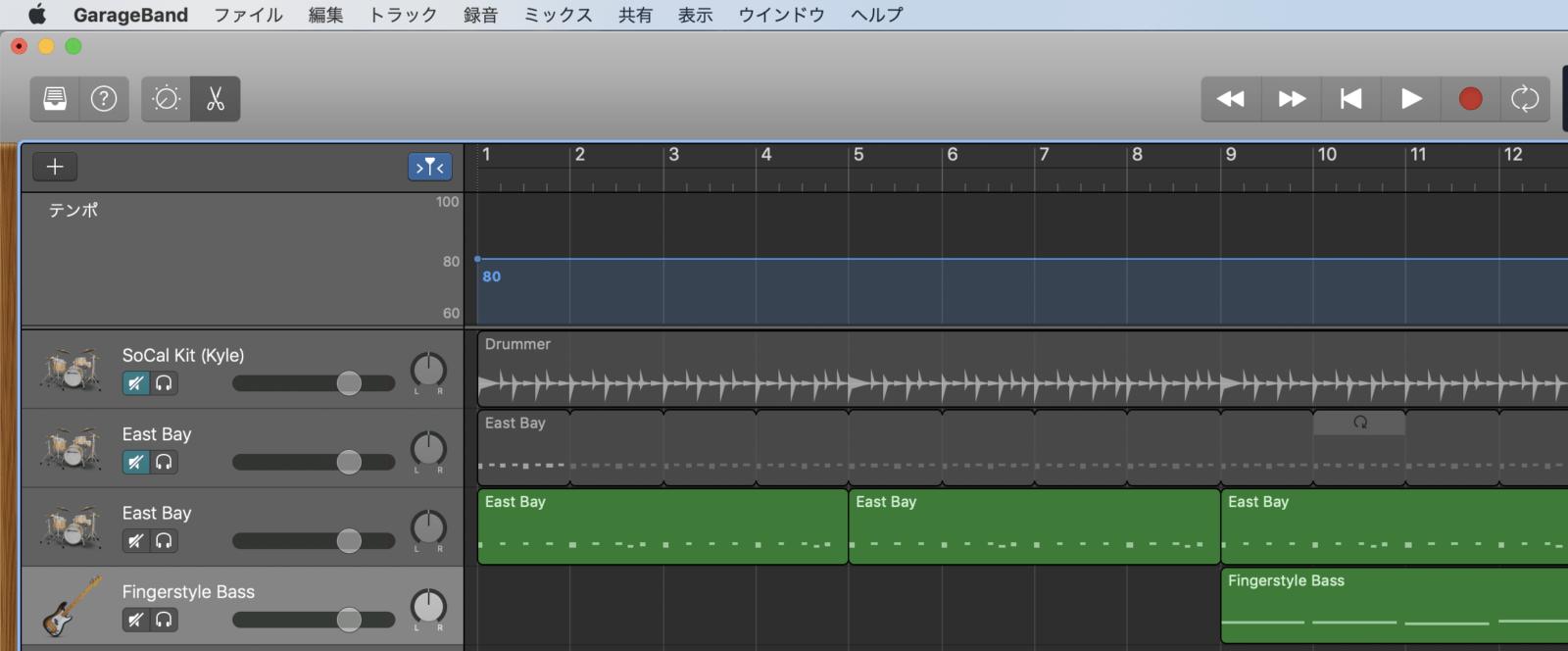 GarageBandで曲の途中から拍子を変更する方法