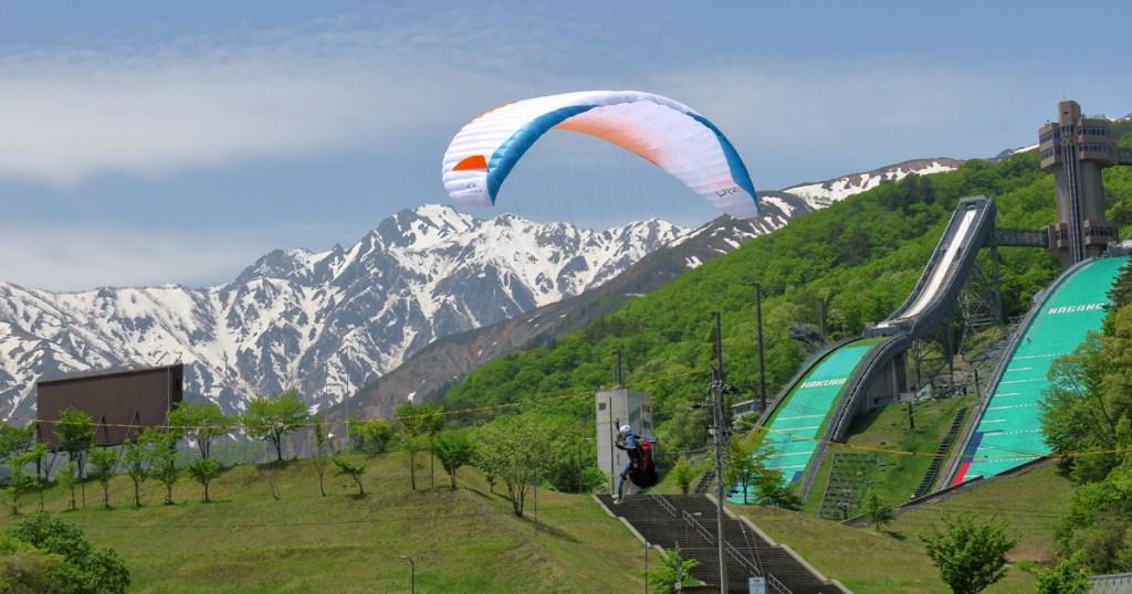 五竜岳、ジャンプ台、パラグライダー