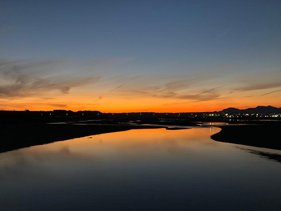 大井川の夕焼け
