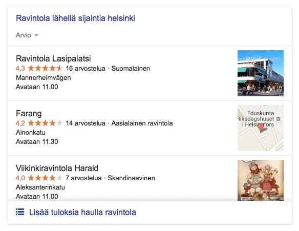 Googlen karttahaku ja sijoitukset karttalistauksissa