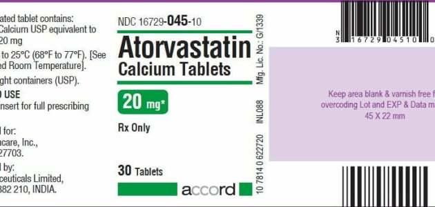 دواء الأتورفاستاتين Atorvastatin الذي يستخدم لخفض الشحوم