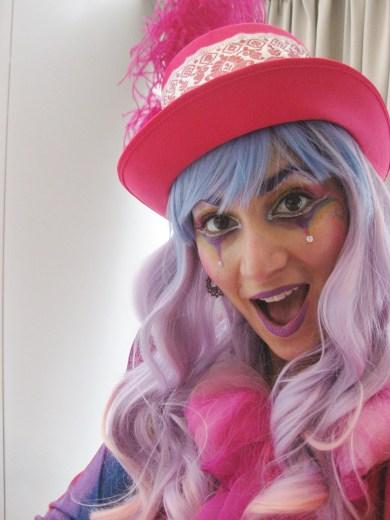 Hala on stilts Markham Toronto rainbow pink silt walker pastel wig Nov 2016