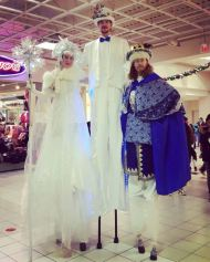 stiltwalkers Sequoia Ice queen and snow king costumes Toronto Hala on Stilts entertainment