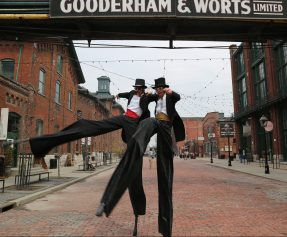 Tuxedo boys on stilts distillery Toronto 2015 stiltwalkers