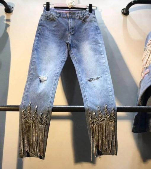 Holes Denim Pants Lady 2019 Spring Summer Clothing New Heavy Studded Bead-fringed Drilled High-waist Slim Nine-cent Jeans Girls Women Women's Clothings Women's Jeans