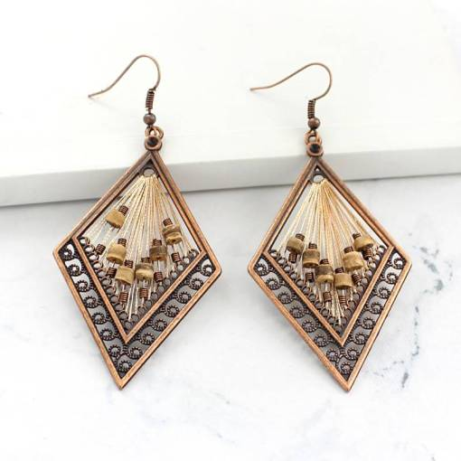 bronze rhombus Openwork carving pattern Lanyard beading earring Vintage charm earrings Female jewelry Artificial Jewellery Earrings