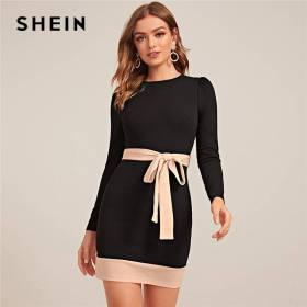 SHEIN Two Tone Elegant Bodycon Dress With Belt Women Spring Long Sleeve Zipper Back High Waist Office Lady Short Pencil Dresses SHEIN Women Women's Clothings Women's Shein Collection
