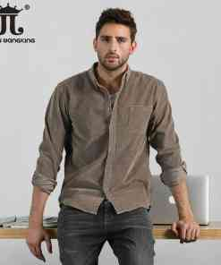 Men Spring Autumn Fashion Brand British Style Vintage Solid Color Corduroy Long Sleeve Shirt Male Casual Business Shirt Cloth Men Men's Clothings Men's Polo Shirts