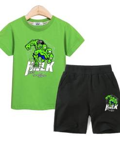 Aimi lakana children cartoon outfits boys clothes summer tees +cotton shorts 2pc sets hulk 3D printing kids costumes suit Boy Kids