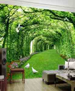 Custom Photo Wallpaper For Walls 3 D Green Forest Tree Lawn 3D Stereo Space Backdrop Wall Paper Home Decor Mural Papel De Parede Herbal Products