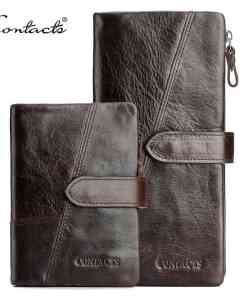 CONTACT'S Genuine Crazy Horse Cowhide Leather Men Wallets Fashion Purse With Card Holder Vintage Long Wallet Clutch Wrist Bag Men Men's Bags Men's Wallets