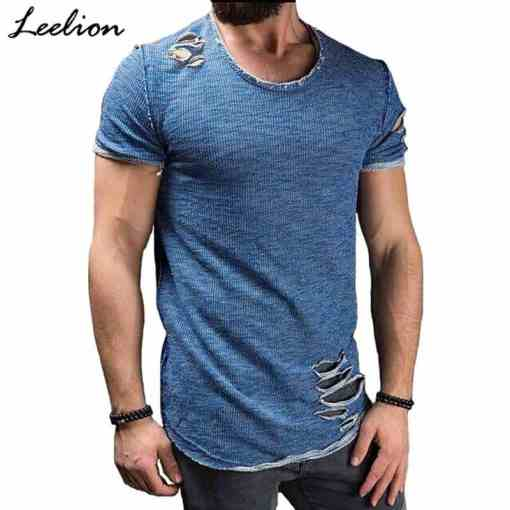 LeeLion 2020 Summer Cotton T Shirt Men Fashion Hole Short Sleeve T-shirt Solid Slim Fit O Neck Tops Casual Tshirt DropShipping Men Men's Clothings Men's Tee Men's Tops