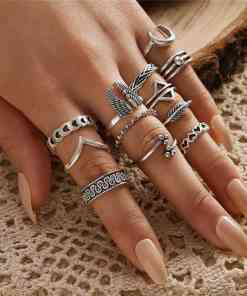 VAGZEB 12 pcs/set Punk Vintage Silver Color Ring for Woman Retro Wings Triangle Moon Geometric Heart Leaf V-shaped Ring Set Herbal Products