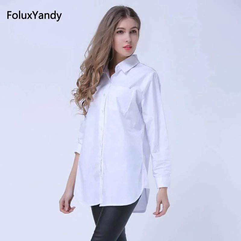 Classic White Shirts for Women Plus Size 3 4 5 XL Casual Loose Long Sleeve Blouse Shirt YWS05 Women Women's Blouses Women's Clothings