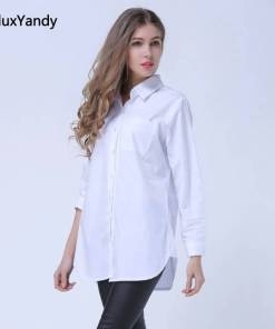 Classic White Shirts for Women Plus Size 3 4 5 XL Casual Loose Long Sleeve Blouse Shirt YWS05 Women Women's Blouses Women's Clothings
