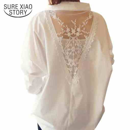 2020 new women tops autumn long sleeve blouses V collar white shirt female lace shirts women clothing solid casual blouse D95 30 Women Women's Blouses Women's Clothings
