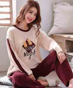 Autumn Winter Cotton Cartoon Pajamas Set Women Pyjamas Homewear Long sleeve Sleepwear Plus size Home Clothes Night suit Female Women's Pajamas