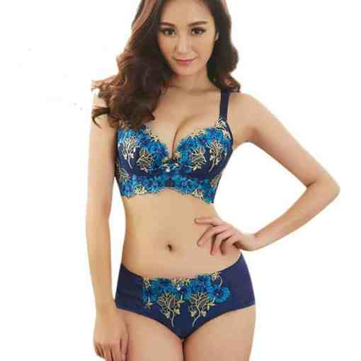 Europe and the United States embroidered thin bra set girls gathered to adjust the sexy ring underwea Women Women's Clothings Women's Lingeries