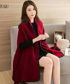 Thick Warm Wraps Faux Cashmere Ponchos And Capes Big Winter Women Knitted Red Shawls Blanket For Ladies New Luxury Brand mujer Herbal Products