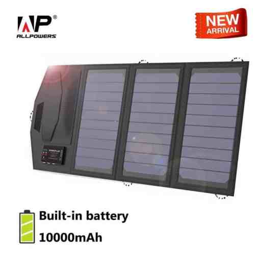 ALLPOWERS 10000mAh Mobile Power Bank Smartphone Solar Charger USB 5V 15W Travel Outdoors Folding Solar Panel Cellphones & Telecommunications Mobile Phone Accessories Solar Panel Chargers