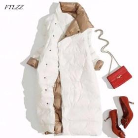 FTLZZ Plus Size 3XL Women Double Sided Down Long Jacket White Duck Down Coat Winter Double Breasted Warm Parkas Snow Outwear Women Women's Clothings Women's Sweaters/Coat