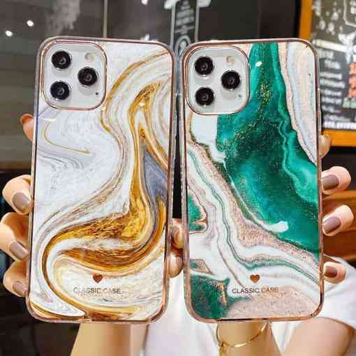 Glitter Gradient Marble Texture Phone Case For iPhone 11 12 11Pro Max XR XS Max X 7 8 Plus 11Pro 12 Shockproof Bumper Back Cover Cellphones & Telecommunications iPhone Cases/Covers Mobile Phone Accessories Phone Covers
