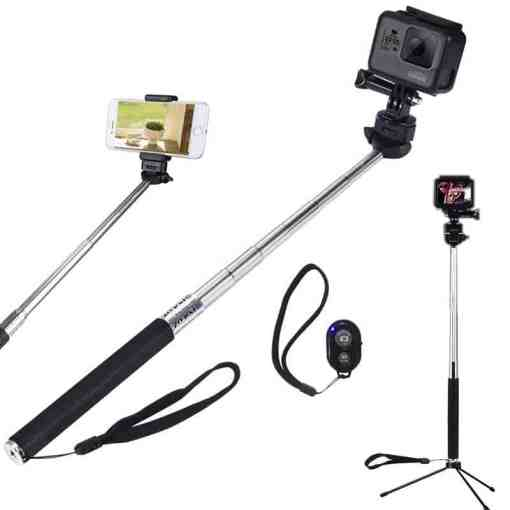 Selfie Stick With Phone Holder Bluetooth Remote for Smartphone Extendable Monopod Tripod adaptor mount for GoPro Hero Cameras Cellphones & Telecommunications Mobile Phone Accessories Selfie Sticks