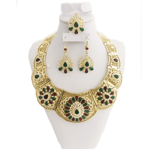 Classic selling good wedding Party jewelry set gold color crystal necklace for women Arab Muslim dress jewelry three-piece set Women Women's Accessories